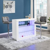 Product photograph showing Fiesta White High Gloss Bar Table With 2 Candid Grey Stools