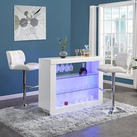 Product photograph showing Fiesta White High Gloss Bar Table With 2 Candid White Stools