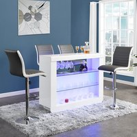 Product photograph showing Fiesta White High Gloss Bar Table With 4 Ritz Grey White Stools
