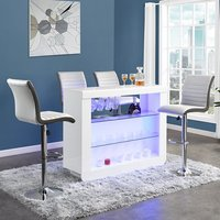 Product photograph showing Fiesta White High Gloss Bar Table With 4 Ritz White Grey Stools