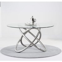 Filkins Glass Round Dining Table With Stainless Steel Base