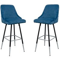 Product photograph showing Fiona Blue Fabric Bar Stool In Pair
