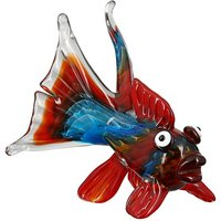 Product photograph showing Fire Fish Glass Design Sculpture In Multicolor