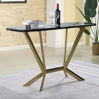 Product photograph showing Firenze Black Marble Console Table With Gold Steel Legs