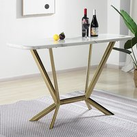 Product photograph showing Firenze White Marble Console Table With Gold Steel Legs