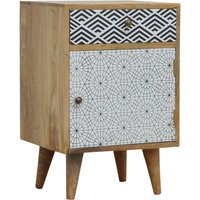 Product photograph showing Flee Wooden Mixed Pattern Bedside Cabinet In Black White Printed