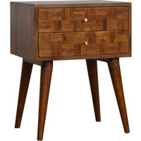 Product photograph showing Flee Wooden Mixed Pattern Bedside Cabinet In Chestnut