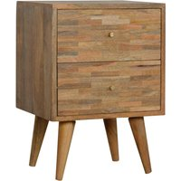 Product photograph showing Flee Wooden Mixed Pattern Bedside Cabinet In Oak Ish 2 Drawers