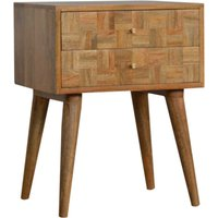 Product photograph showing Flee Wooden Mixed Pattern Bedside Cabinet In Oak Ish