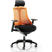 Product photograph showing Flex Task Headrest Office Chair In Black Frame With Orange Back