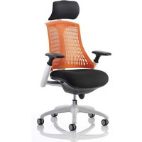Product photograph showing Flex Task Headrest Office Chair In White Frame With Orange Back