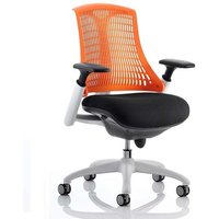Product photograph showing Flex Task Office Chair In White Frame With Orange Back