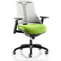 Flex Task White Back Office Chair With Myrrh Green Seat