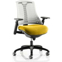 Flex Task White Back Office Chair With Senna Yellow Seat