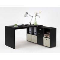 Product photograph showing Flexi Modern Corner Computer Desk In Black