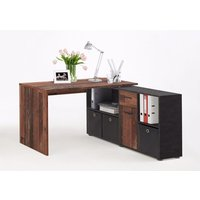 Product photograph showing Flexi Modern Corner Computer Desk In Old Style Dark And Matera