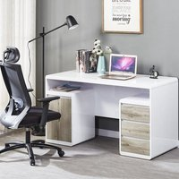 Florentine Computer Desk In White Gloss With Grey Oak Drawers