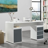 Product photograph showing Florentine White Gloss Storage Computer Desk With Grey Drawers