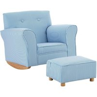 Product photograph showing Floride Kids Rocker Chair With Foot Stool In Blue And White