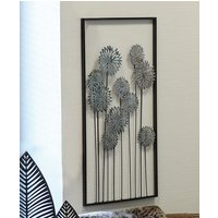 Product photograph showing Flowers Metal Wall Art In Silver With Antique Dark Brown Frame