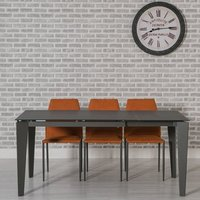 Product photograph showing Folio Extendable Glass Dining Table Grey And 6 Orange Chairs
