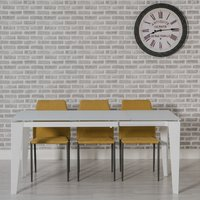 Product photograph showing Folio Extendable Glass Dining Table White And 6 Yellow Chairs