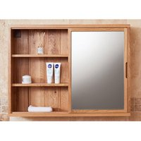 Product photograph showing Fornatic Bathroom Mirrored Wall Storage Unit In Mobel Oak