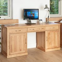 Product photograph showing Fornatic Computer Desk In Mobel Oak With 2 Doors And 3 Drawers