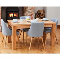 Product photograph showing Fornatic Dining Table In Mobel Oak 4 Grey Fabric Harrow Chairs