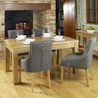 Product photograph showing Fornatic Dining Table In Mobel Oak With 4 Harrow Slate Chairs