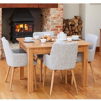 Product photograph showing Fornatic Dining Table In Mobel Oak With 4 Light Grey Chairs