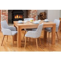 Product photograph showing Fornatic Dining Table In Mobel Oak 4 Light Grey Harrow Chairs