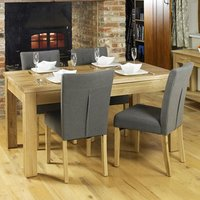 Product photograph showing Fornatic Dining Table In Mobel Oak With 4 Slate Harrow Chairs