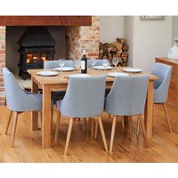 Product photograph showing Fornatic Extending Mobel Oak Dining Table 4 Grey Harrow Chairs