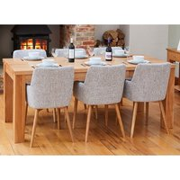 Product photograph showing Fornatic Extending Mobel Oak Dining Table 4 Light Grey Chairs