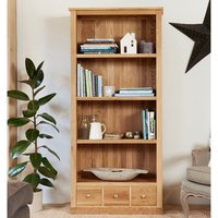 Product photograph showing Fornatic Large Wooden Bookcase In Mobel Oak With 3 Drawers