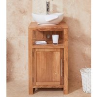 Product photograph showing Fornatic Mobel Oak Small Bathroom Vanity Unit And Round Basin