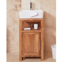 Product photograph showing Fornatic Mobel Oak Small Bathroom Vanity Unit And Square Basin