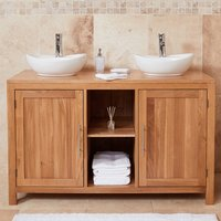 Product photograph showing Fornatic Mobel Oak Bathroom Vanity Unit And Dual Round Basin