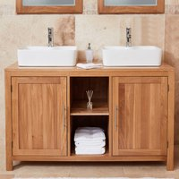Product photograph showing Fornatic Mobel Oak Bathroom Vanity Unit And Dual Square Basin