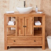 Product photograph showing Fornatic Mobel Oak Bathroom Vanity Unit And Round Basin