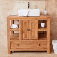 Product photograph showing Fornatic Mobel Oak Bathroom Vanity Unit And Square Basin