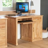 Product photograph showing Fornatic Single Pedestal Wooden Computer Desk In Mobel Oak