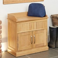 Product photograph showing Fornatic Wooden Shoe Storage Bench In Mobel Oak