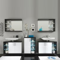 Forum Bathroom Set 1 In Smoke Silver Gloss White Fronts And LED