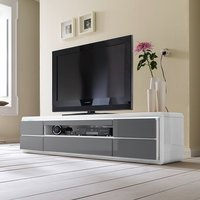 image-Frame LCD TV Stand In White Grey Gloss With LED And 5 Drawers