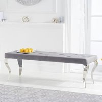 Product photograph showing Franca Velvet Large Bench In Grey With Metal Legs