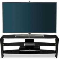Product photograph showing Francium Glass Tv Stand In Black With Shelves