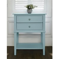 Product photograph showing Franklin Wooden 2 Drawers Side Table In Blue