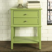 Product photograph showing Franklin Wooden 2 Drawers Side Table In Green